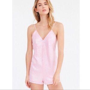 NWT Motel Corsica SZ Medium sequin romper pink